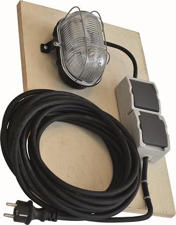 Bulleye+Lamp+Houten Paneel + Kabel +